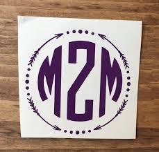 Monogram Decal Vinyl Decal Monogram Car Decal Personalized Etsy
