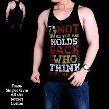 grosir baju kaos pria keren gym lengan pendek quote sport laki