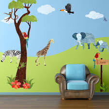 My Wonderful Walls Safari Multi Peel And Stick Removable Wall Decals Jungle Theme Wall Mural 45 Piece Jumbo Set Stk1002 The Home Depot