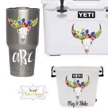 Texas Wildflower Steer Skull Monogram Decal Shop Sophie Breanna Designs On Etsy Etsyshop Custom Vinyl Vinyl Decal Monogram Decal Skull Sticker Yeti Decals