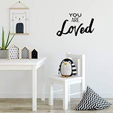 Amazon Com Vinyl Wall Art Decal You Are Loved 15 X 20 Inspirational Husband And Wife Bedroom Couples Love Quote Removable Home Decor Wall Sticker Decals Kitchen Dining