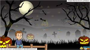 On The Fence And Spooky Graveyard Halloween Background Clipart Cartoons By Vectortoons