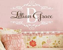Childs Name Wall Decals Shabby Chic Baby Nursery Vinyl Wall Decal With Initial Name And Heart Accents 22h X Nursery Wall Decals Kids Vinyl Decals Wall Decals