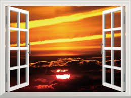 3d Window View Exotic Morning Sunrise Decal Wall Sticker Home Decor Mural Ebay