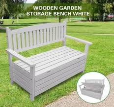 2 seat storage bench outdoor wooden