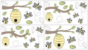 Honey Bee Peel And Stick Wall Decal Stickers Art Nursery Decor By Sweet Jojo Designs Set Of 4 Sheets Only 24 99