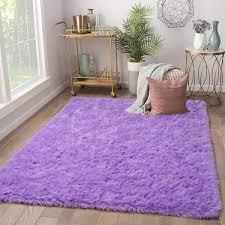 Amazon Com Terrug Soft Kids Room Rug Purple Shag Area Rugs For Bedroom Living Room Carpet Plush Fluffy Fur Rug For Nursery Girls Dorm Home Decor 4x6 Feet Purple Kitchen Dining