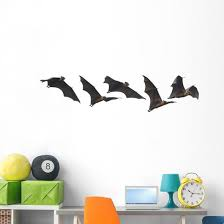 Halloween Flying Vampire Bats Wall Decal Sticker Set Wallmonkeys Com
