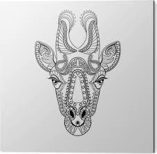 Poster Zentangle Giraffe Hoofd Totem Voor Volwassen Anti Stress