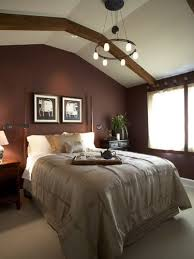 bedroom with brown accent wall