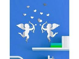 12pcs S Mirror Wall Stickers Diy Cupid Decals Mirror Wall Wedding Decoration Mirror Stickers Silver Newegg Com