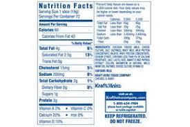 kraft american cheese nutrition label