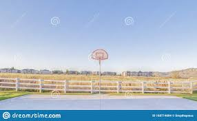 Panorama Frame Outdoor Basketball Court With Goalpost On A Sunny Day Stock Photo Image Of Grass Recreation 168714604