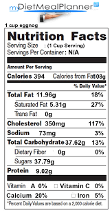 nutrition facts label eggs 1