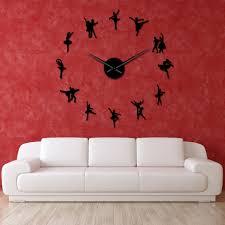 Ballerina Wall Art Diy Large Wall Clock Big Needles Frameless Giant Ballet Dancer Wall Clock Oversized Dancing Girls Clock Watch Wall Clocks Aliexpress