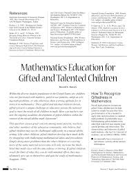 mathematics education for gifted and