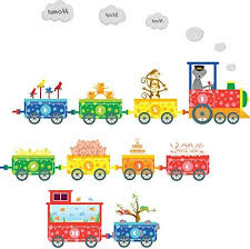 Animal Train Wall Stickers For Kids Room Children