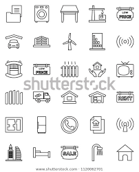 Thin Line Vector Icon Set House Stock Vector Royalty Free 1120062701