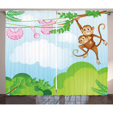Nursery Curtains 2 Panels Set Monkey Swinging With The Kid Baby Clothes Chimpanzee Jungle Joy Togetherness Window Drapes For Living Room Bedroom 108w X 63l Inches Green Brown Pink By Ambesonne