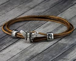 bee leather bracelet leather wrap