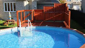 Stained Amber Poolside Privacy Fence Arts Crafts Swimming Pool Hot Tub Montreal By Flexfence