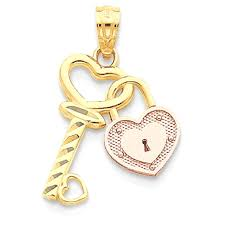 gold heart lock key pendant charm