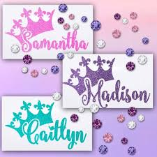 Amazon Com Vinyl Decal Glitter Name With Princess Tiara Crown For Yeti Tumblers Ipads Laptops Binders Phone Cases Etc Handmade