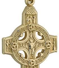 mens gold celtic cross scriptures