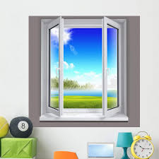 Amazon Com Wallmonkeys Sunny Window Scene Wall Decal Peel And Stick Graphic 18 In H X 18 In W Wm261233 Furniture Decor