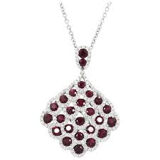 18k white gold ruby and diamond pendant