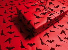 black bats on red gothic wrapping paper