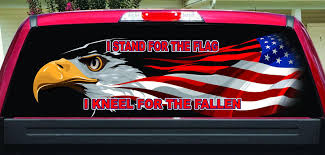 I Stand For The Flag Rear Window Decal Let S Print Big