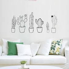 Cactus Black White Set Wall Decal Plants Spring Cactus Pot Plants Nature Green Living Room Decals Home Decorations L78 Home Decor Wall Decalsdecorative Home Decor Aliexpress