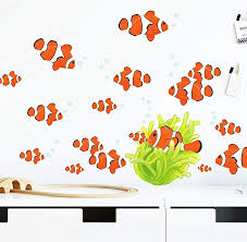 Amazon Com Create A Mural Clown Fish Wall Decals Ocean Wall Stickers Coral Reef Tropical Fish Bubbles Decor Under The Sea Peel N Stick Kids Room Art Bathroom Living Room Playroom Girls Boys Birthday
