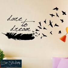 Wall Stickers Dare Dream Feather Bedroom Hall Living Room Nature Art Decals Viny Ebay