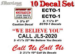 10 Piece Ghostbusters Ecto 1 Vehicle Decals Halloween Ghost Prop Vinyl Street Legal Decals