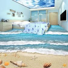 Pvc Self Adhesive Waterproof 3d Floor Tiles Wall Paper Sticker Modern Beach Sea Wave Kids Bedroom Living Room Wear Floor Murals Floor Mural 3d Flooringtile Wall Paper Aliexpress