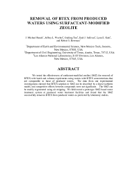 PDF) Removal of Btex from Produced Waters Using Surfactant-Modified Zeolite  | Enid Sullivan Graham - Academia.edu