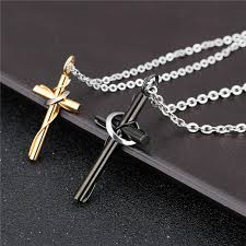 men women stainless steel couple cross