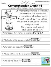early comprehension worksheets