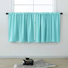 Amazon Com Kids Curtains Short 36 Inches Long For Bedroom Set 2 Panels Cafe Tier Curtains Room Darkening Rod Pocket Privacy Blackout Bed Curtains For Boys Girls Small Windows Kitchen Bathroom Egg Blue
