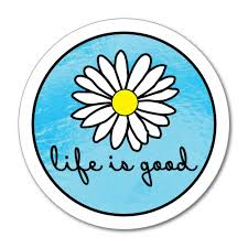 Life Is Good Happy Daisy Sea Water Yellow Flower Circle Blue Car Sticker Decal Ebay