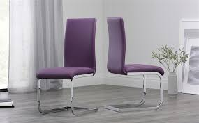 purple leather dining chair chrome leg