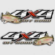 Rainbow Trout Fly Fishing 4x4 Chevy Silverado Truck Decals