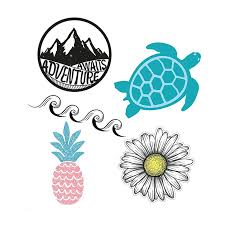 Cute Trendy Laptop Sticker 5pcs Pack For Macbook Phone Car Decal Stickers Wave Ocean Beach Pineapple Turtle Vinyl Sticker Laptop Skins Aliexpress