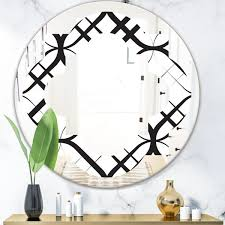 Shop Designart Monochrome Geometric Pattern Iii Modern Round Or Oval Wall Mirror Quatrefoil On Sale Overstock 29913315