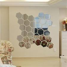 vgeby hexagon mirror 12 pcs geometric