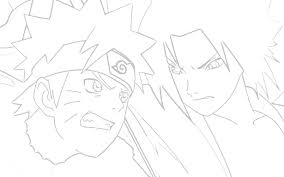 NARUTO VS SASUKE COLORING PAGES - Naruto and Sasuke with Curse Mark Lineart  by ...