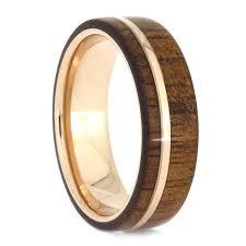 silver tungsten koa wood ring