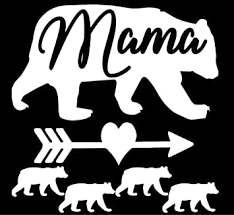Amazon Com Mama Bear 4 Cubs Vinyl Decal 5 X 5 White Automotive
